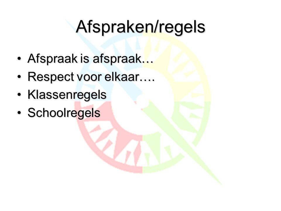 Afspraken/regels •Afspraak is afspraak… •Respect voor elkaar…. •Klassenregels •Schoolregels
