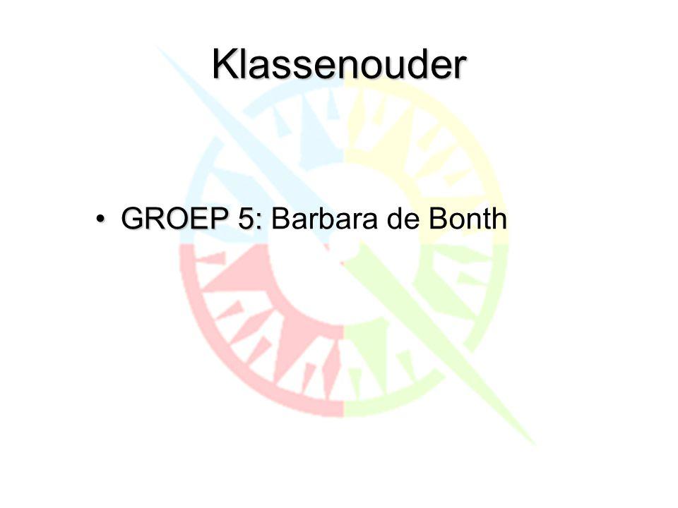 Klassenouder •GROEP 5: •GROEP 5: Barbara de Bonth