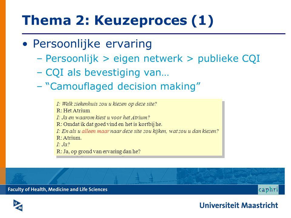 Thema 2: Keuzeproces (1) •Persoonlijke ervaring –Persoonlijk > eigen netwerk > publieke CQI –CQI als bevestiging van… – Camouflaged decision making I: Welk ziekenhuis zou u kiezen op deze site.