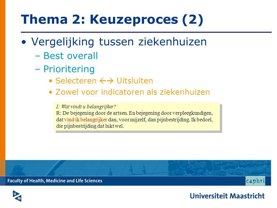 Thema 2: Keuzeproces (2) •Vergelijking tussen ziekenhuizen –Best overall –Prioritering •Selecteren  Uitsluiten •Zowel voor indicatoren als ziekenhuizen I: Wat vindt u belangrijker.