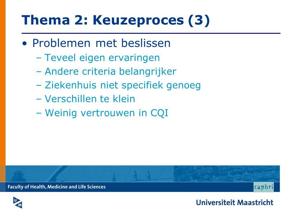 Thema 2: Keuzeproces (3) •Problemen met beslissen –Teveel eigen ervaringen –Andere criteria belangrijker –Ziekenhuis niet specifiek genoeg –Verschillen te klein –Weinig vertrouwen in CQI