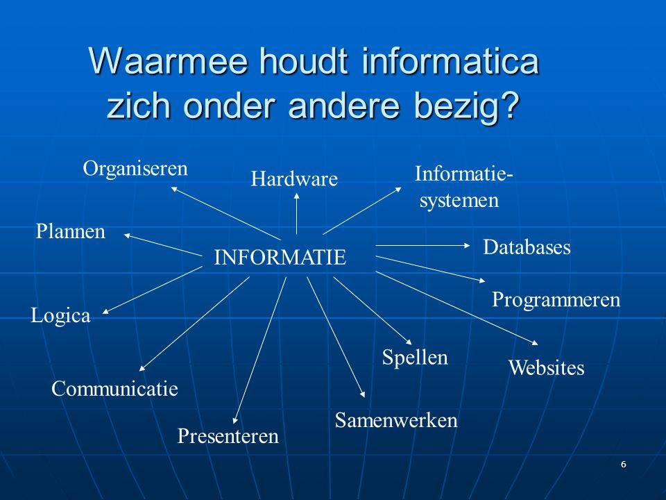 6 Waarmee houdt informatica zich onder andere bezig? INFORMATIE Logica Hardware Databases Presenteren Informatie- systemen Plannen Programmeren Commun
