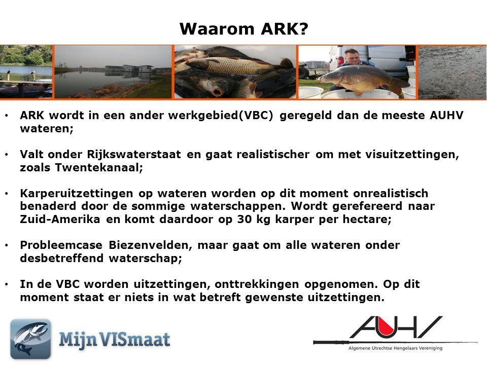 Waarom ARK? • ARK wordt in een ander werkgebied(VBC) geregeld dan de meeste AUHV wateren; • Valt onder Rijkswaterstaat en gaat realistischer om met vi
