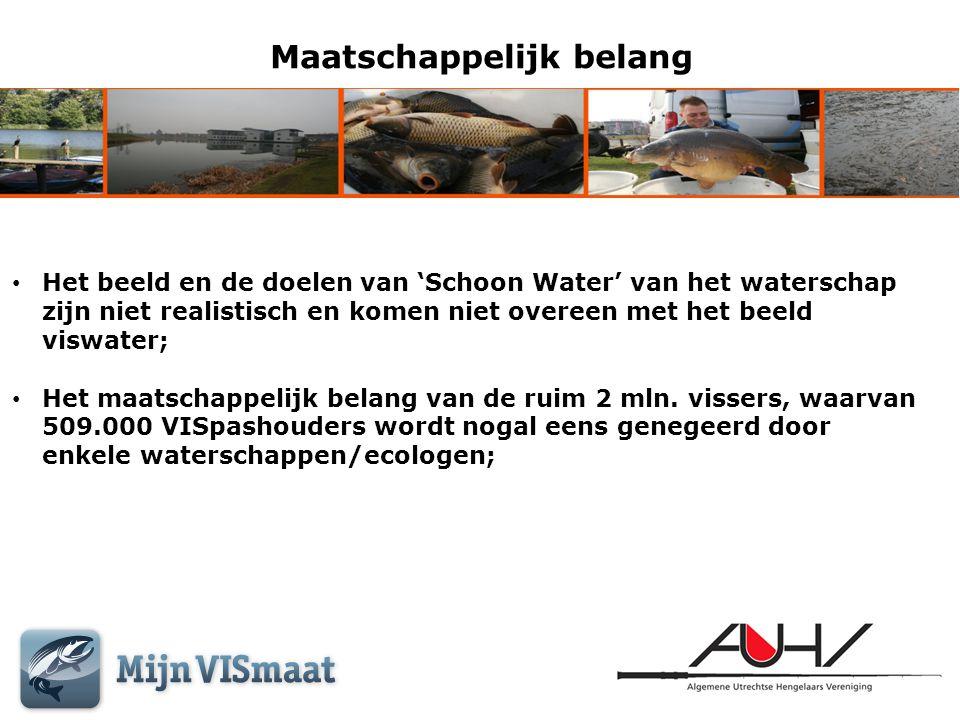 Maatschappelijk belang • Het beeld en de doelen van 'Schoon Water' van het waterschap zijn niet realistisch en komen niet overeen met het beeld viswat
