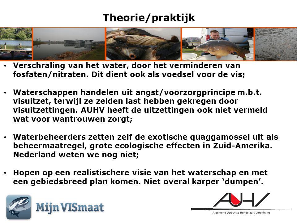 Theorie/praktijk • Verschraling van het water, door het verminderen van fosfaten/nitraten. Dit dient ook als voedsel voor de vis; • Waterschappen hand