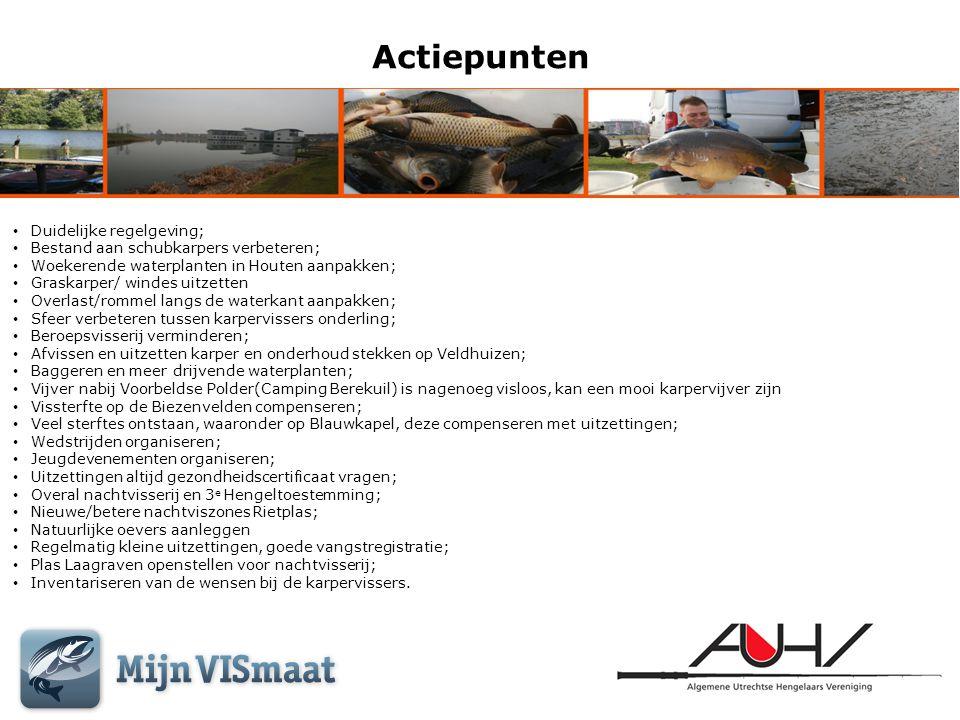 Actiepunten • Duidelijke regelgeving; • Bestand aan schubkarpers verbeteren; • Woekerende waterplanten in Houten aanpakken; • Graskarper/ windes uitze