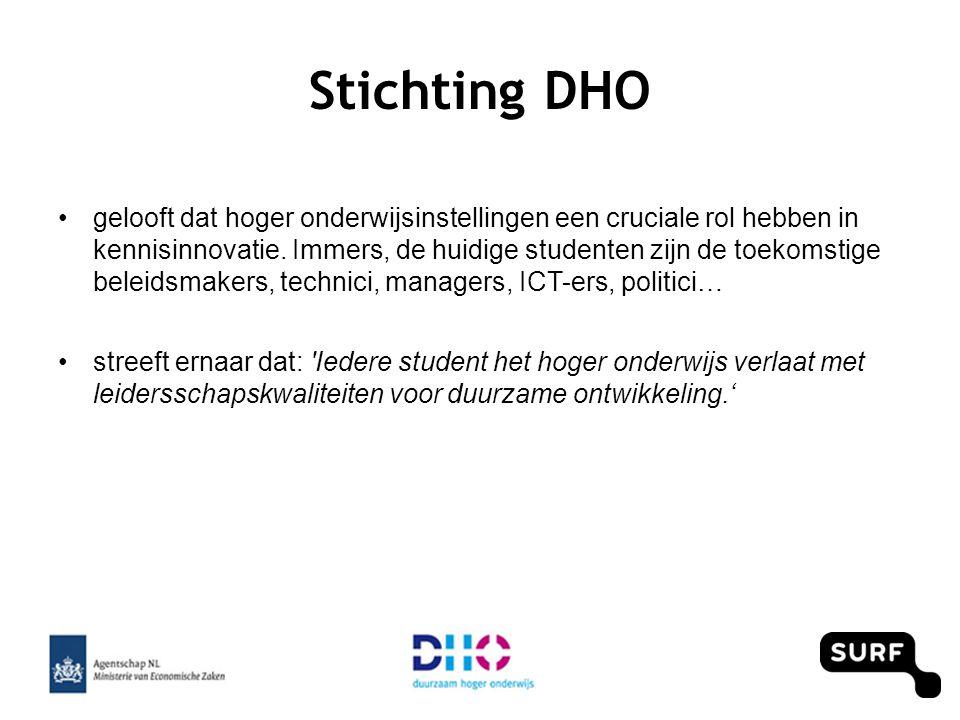 DHO doet dit door: •Ondersteunende diensten: • AISHE audits – Keurmerk Duurzaam Hoger Onderwijs • Change-agent trainingen • Advies op maat • Workshops • Organisatie themadagen •Netwerk: www.plado.nlwww.plado.nl •Projecten rond specifieke themagebieden: o.a •dit pilotprogramma & afsluitend symposium •duurzaam inkopen in hoger onderwijs, Cradle2Cradle, leerlijn water