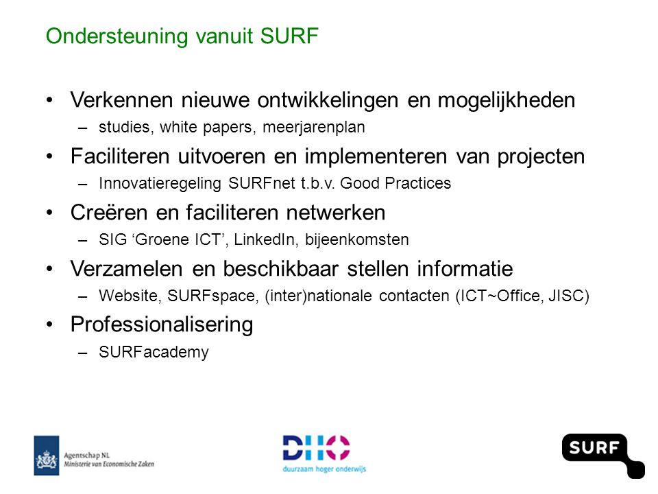 Ondersteuning vanuit SURF •Verkennen nieuwe ontwikkelingen en mogelijkheden –studies, white papers, meerjarenplan •Faciliteren uitvoeren en implementeren van projecten –Innovatieregeling SURFnet t.b.v.