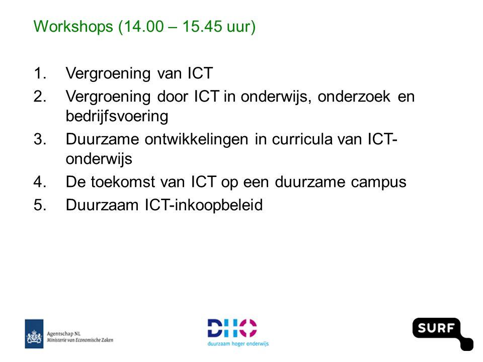 Workshops (14.00 – 15.45 uur) 1.Vergroening van ICT 2.Vergroening door ICT in onderwijs, onderzoek en bedrijfsvoering 3.Duurzame ontwikkelingen in curricula van ICT- onderwijs 4.De toekomst van ICT op een duurzame campus 5.Duurzaam ICT-inkoopbeleid