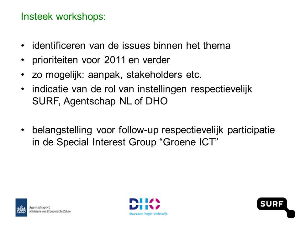 Insteek workshops: •identificeren van de issues binnen het thema •prioriteiten voor 2011 en verder •zo mogelijk: aanpak, stakeholders etc.