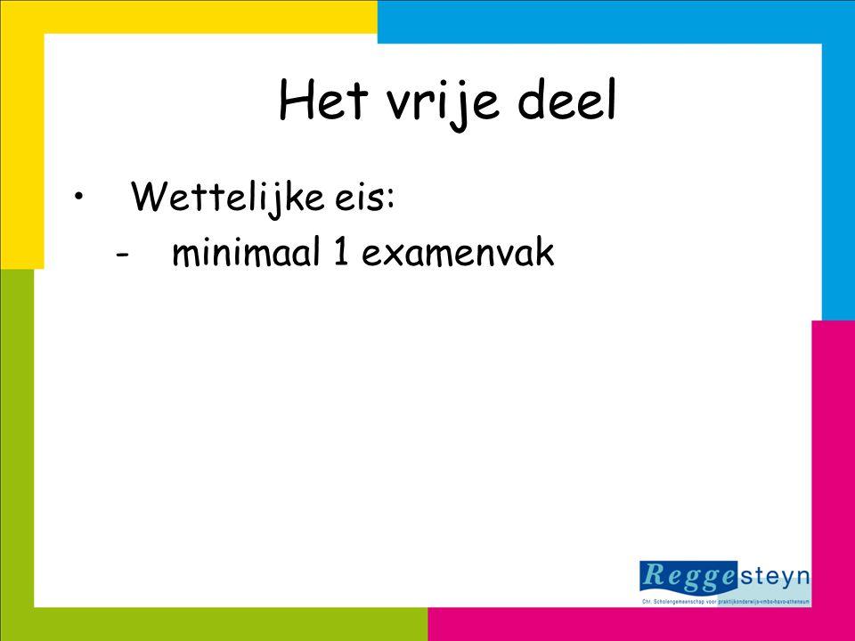 Het vrije deel •Wettelijke eis: -minimaal 1 examenvak