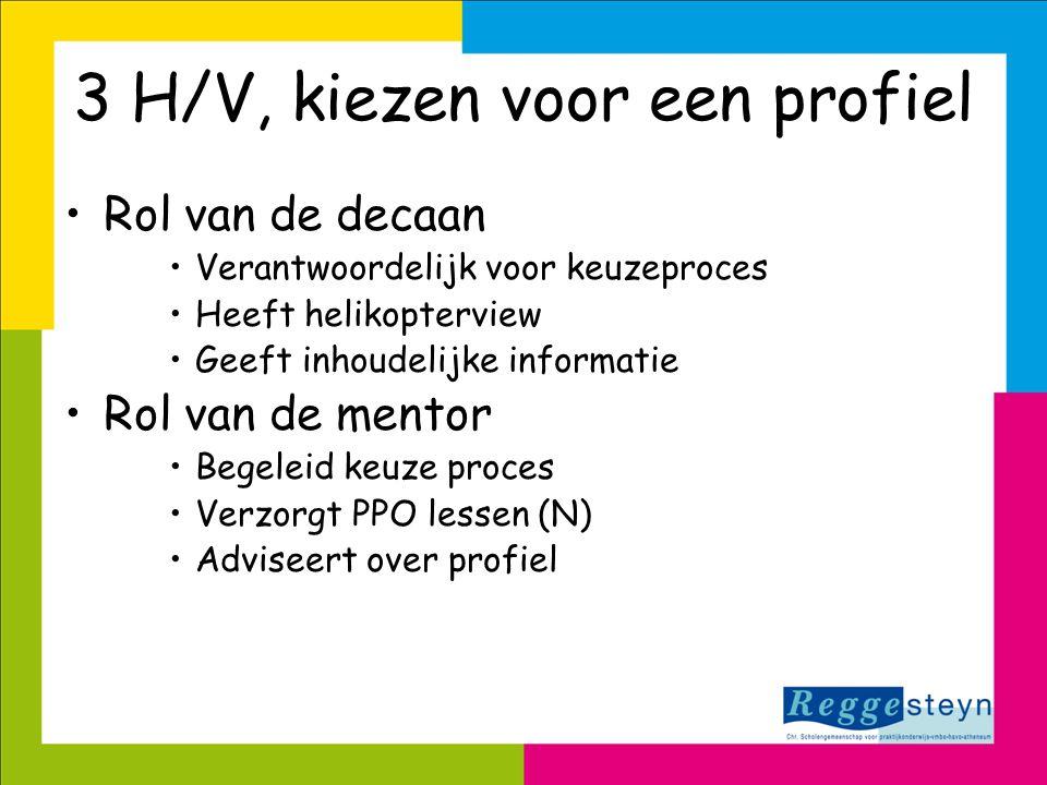 3 H/V, kiezen voor een profiel •Rol van de decaan •Verantwoordelijk voor keuzeproces •Heeft helikopterview •Geeft inhoudelijke informatie •Rol van de