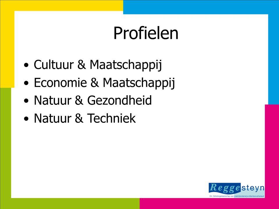 Profielen •Cultuur & Maatschappij •Economie & Maatschappij •Natuur & Gezondheid •Natuur & Techniek