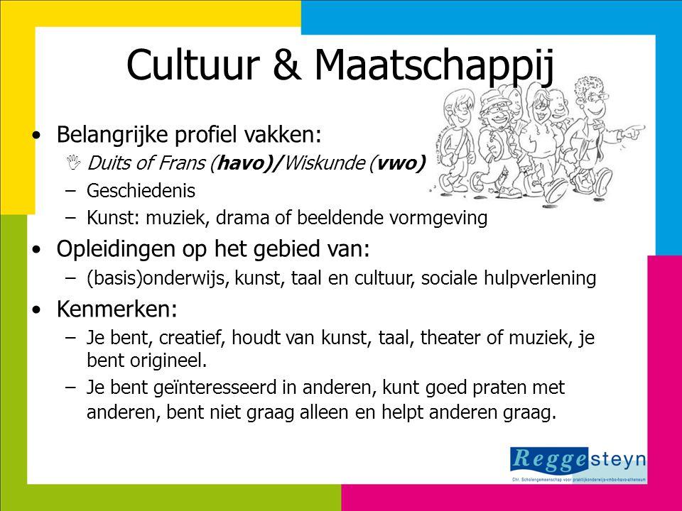 Cultuur & Maatschappij •Belangrijke profiel vakken:  Duits of Frans (havo)/Wiskunde (vwo) –Geschiedenis –Kunst: muziek, drama of beeldende vormgeving