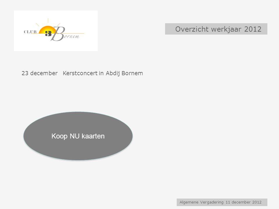 Algemene Vergadering 11 december 2012 Overzicht werkjaar 2012 23 december Kerstconcert in Abdij Bornem Koop NU kaarten
