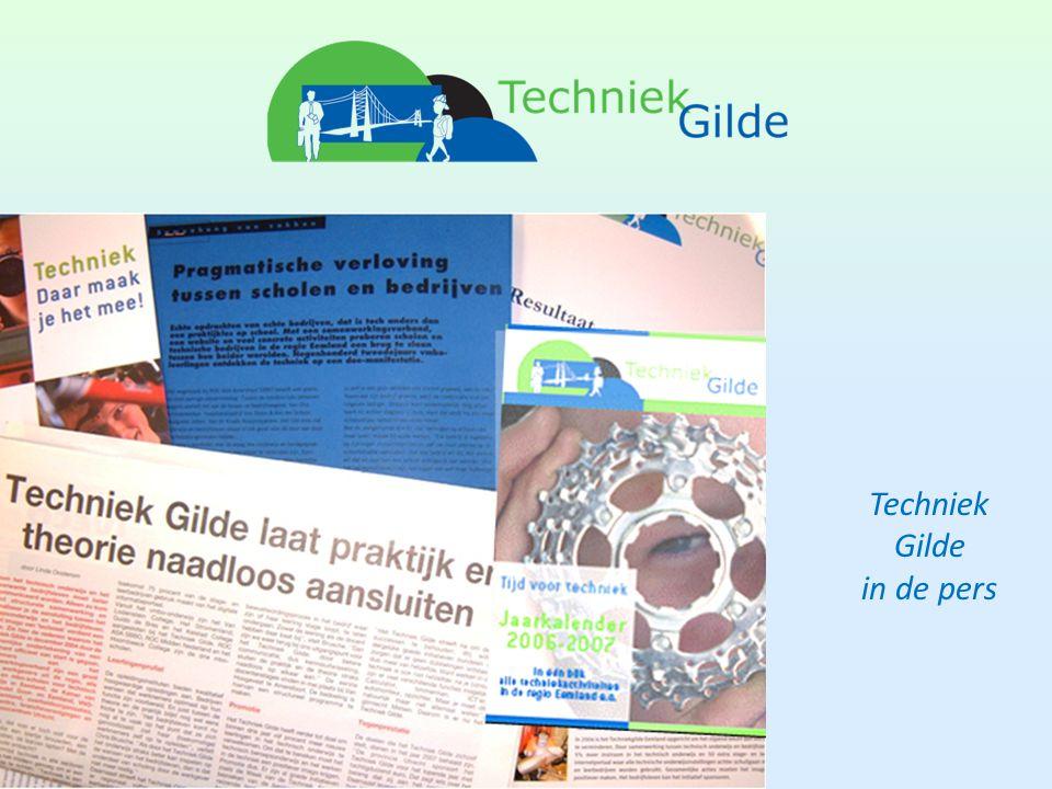 Promotie Techniek Gilde Ondersteunen projecten door gerichte PR: • presentaties • artikelen • interviews • jaarkalender / agenda regionale activiteiten Techniek Gilde als krachtig merk naar buiten communiceren