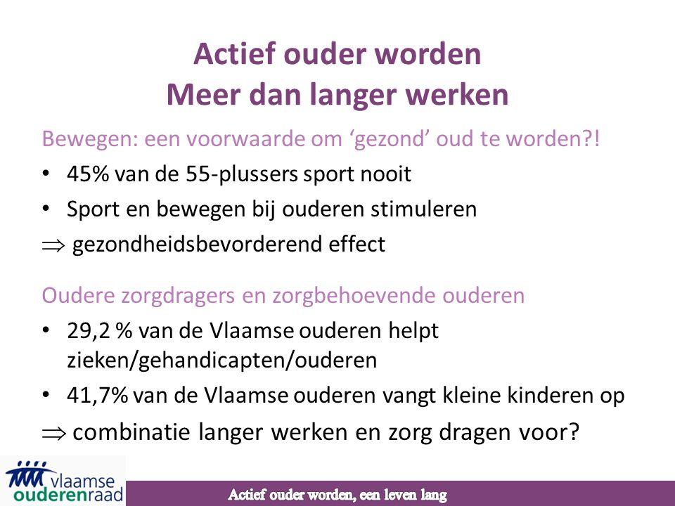 Actief ouder worden Meer dan langer werken Bewegen: een voorwaarde om 'gezond' oud te worden?! • 45% van de 55-plussers sport nooit • Sport en bewegen