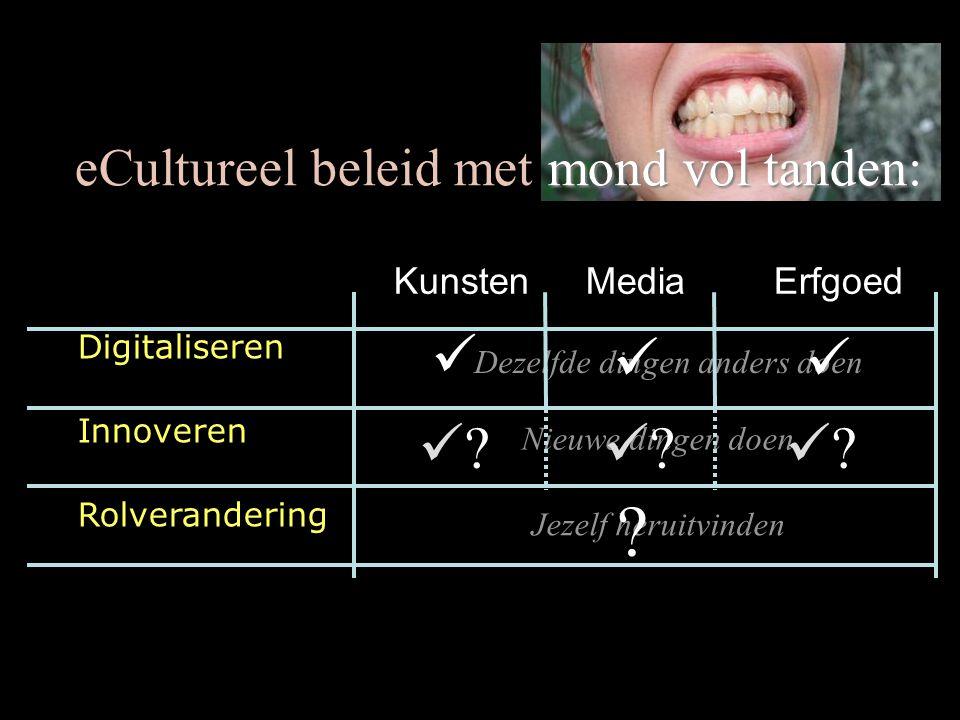 Jezelf heruitvinden Nieuwe dingen doen Dezelfde dingen anders doen mond vol tanden: eCultureel beleid met mond vol tanden:    .