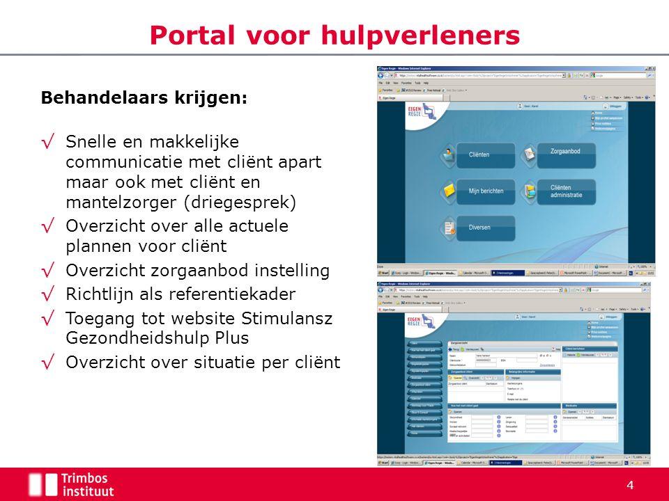 Portal voor hulpverleners Behandelaars krijgen: √Snelle en makkelijke communicatie met cliënt apart maar ook met cliënt en mantelzorger (driegesprek)