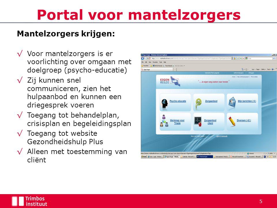 Portal voor mantelzorgers Mantelzorgers krijgen: √Voor mantelzorgers is er voorlichting over omgaan met doelgroep (psycho-educatie) √Zij kunnen snel c