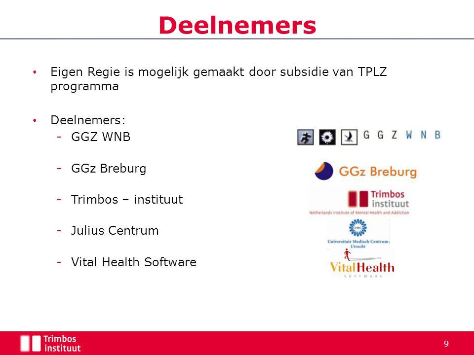 Deelnemers • Eigen Regie is mogelijk gemaakt door subsidie van TPLZ programma • Deelnemers: -GGZ WNB -GGz Breburg -Trimbos – instituut -Julius Centrum
