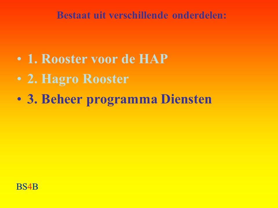 BS4B Bestaat uit verschillende onderdelen: •1. Rooster voor de HAP •2. Hagro Rooster •3. Beheer programma Diensten BS4B