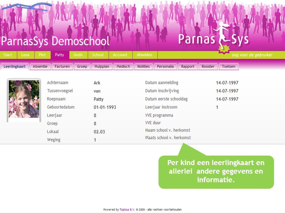 Per kind een leerlingkaart en allerlei andere gegevens en informatie.