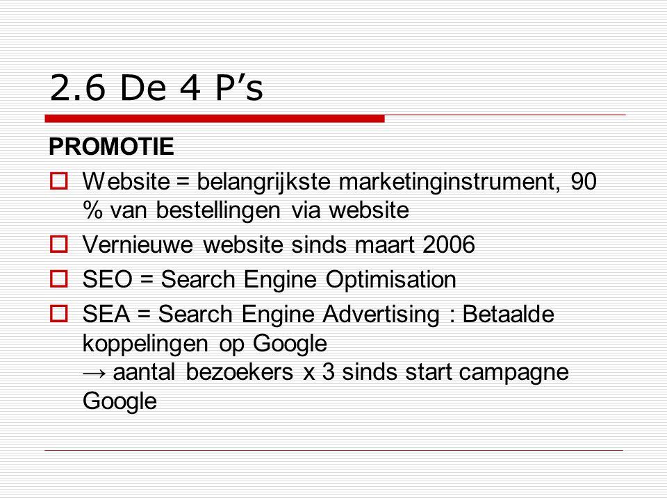 2.6 De 4 P's PROMOTIE  Website = belangrijkste marketinginstrument, 90 % van bestellingen via website  Vernieuwe website sinds maart 2006  SEO = Se