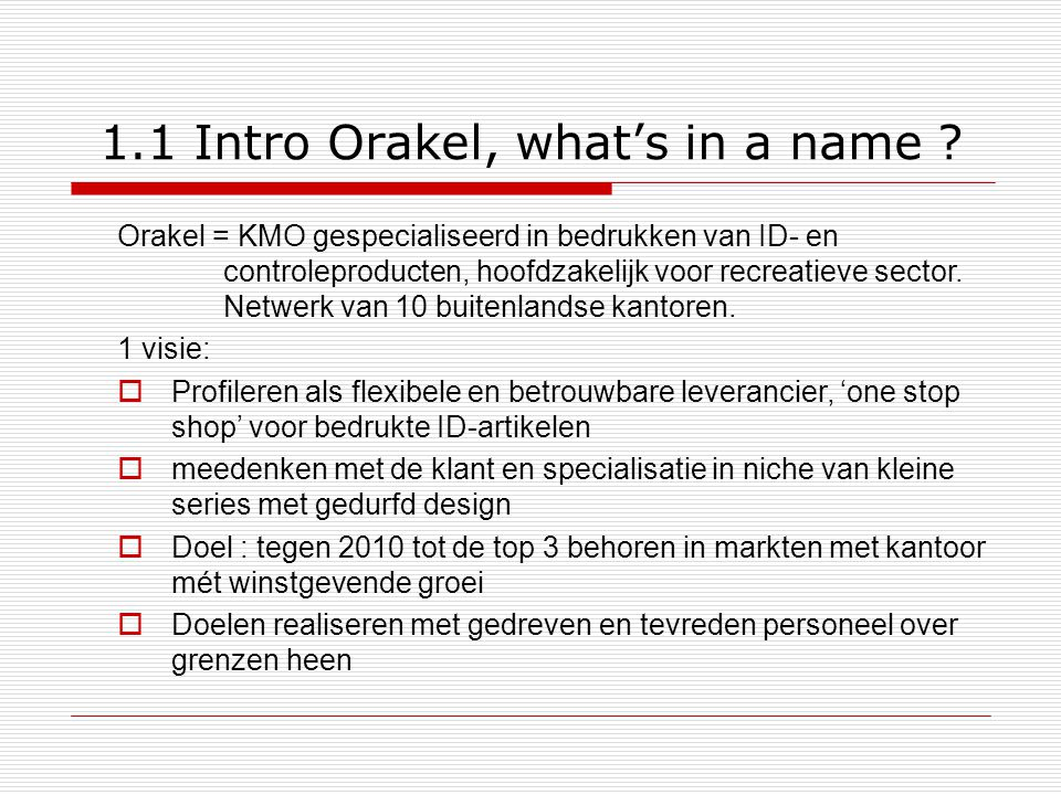 1.1 Intro Orakel, what's in a name .