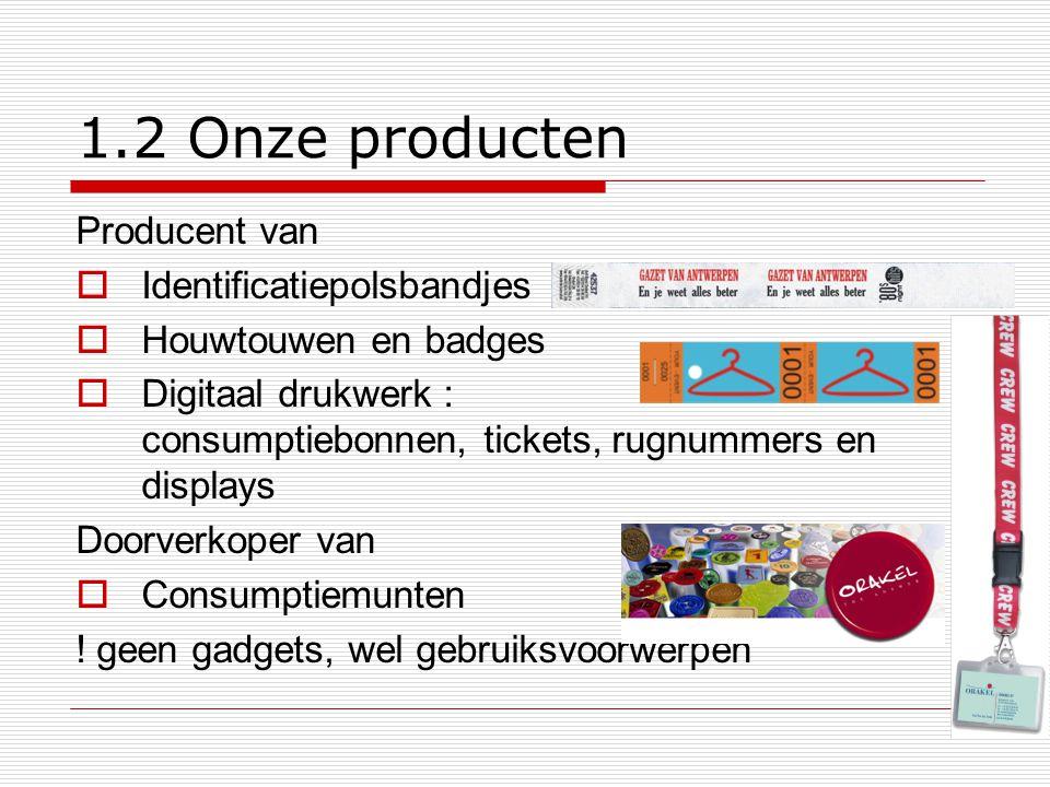 1.2 Onze producten Producent van  Identificatiepolsbandjes  Houwtouwen en badges  Digitaal drukwerk : consumptiebonnen, tickets, rugnummers en disp