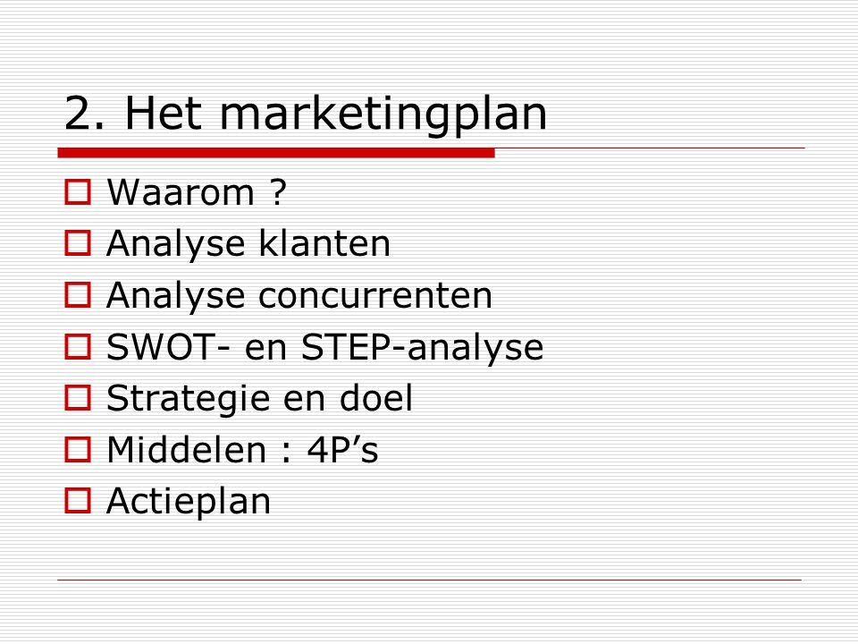 2. Het marketingplan  Waarom ?  Analyse klanten  Analyse concurrenten  SWOT- en STEP-analyse  Strategie en doel  Middelen : 4P's  Actieplan
