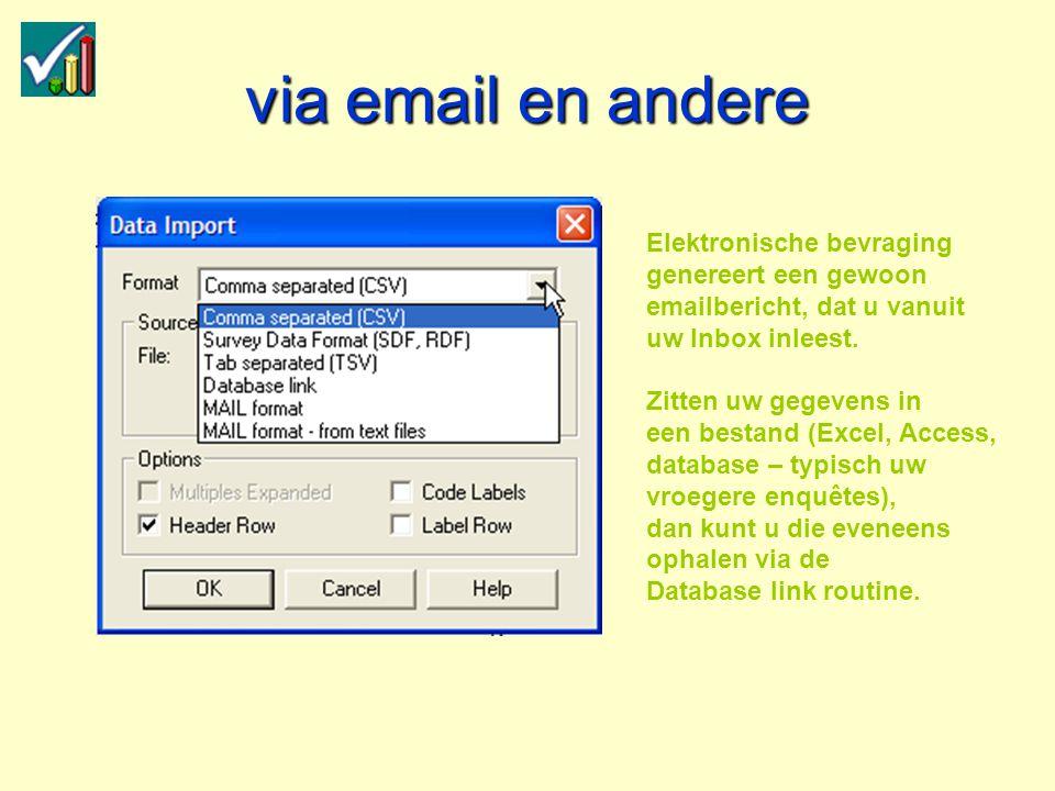 via email en andere Elektronische bevraging genereert een gewoon emailbericht, dat u vanuit uw Inbox inleest.