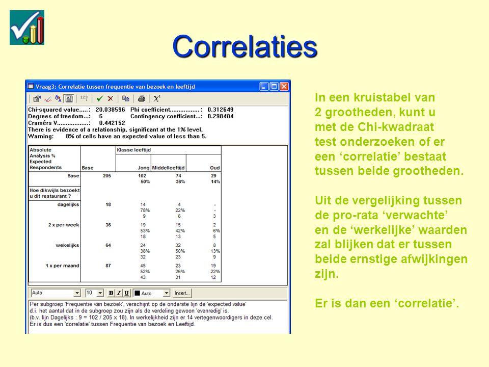 Correlaties In een kruistabel van 2 grootheden, kunt u met de Chi-kwadraat test onderzoeken of er een 'correlatie' bestaat tussen beide grootheden.