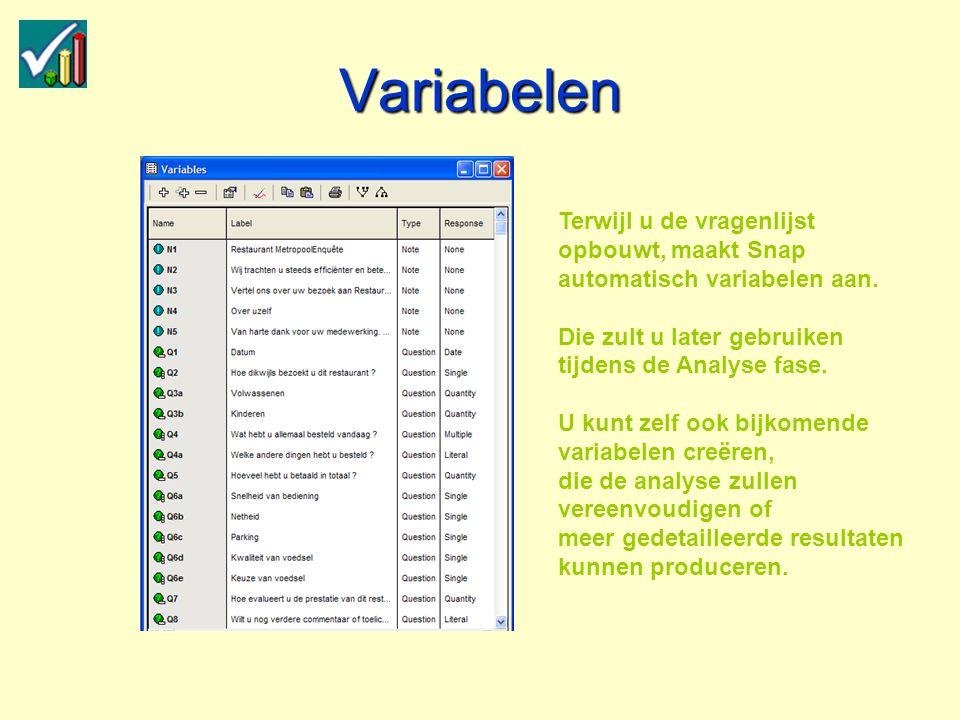 Variabelen Terwijl u de vragenlijst opbouwt, maakt Snap automatisch variabelen aan.