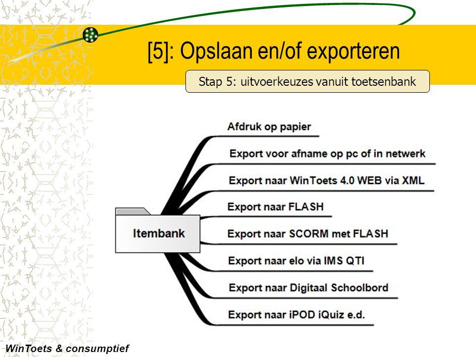 Voorbeeld: export naar elo's [EXP] WinToets & consumptief Met elke elo is uitgebreid overleg geweest alvorens een export wordt ingebouwd Overzicht elo's met SCORM- en/of IMS QTI-import