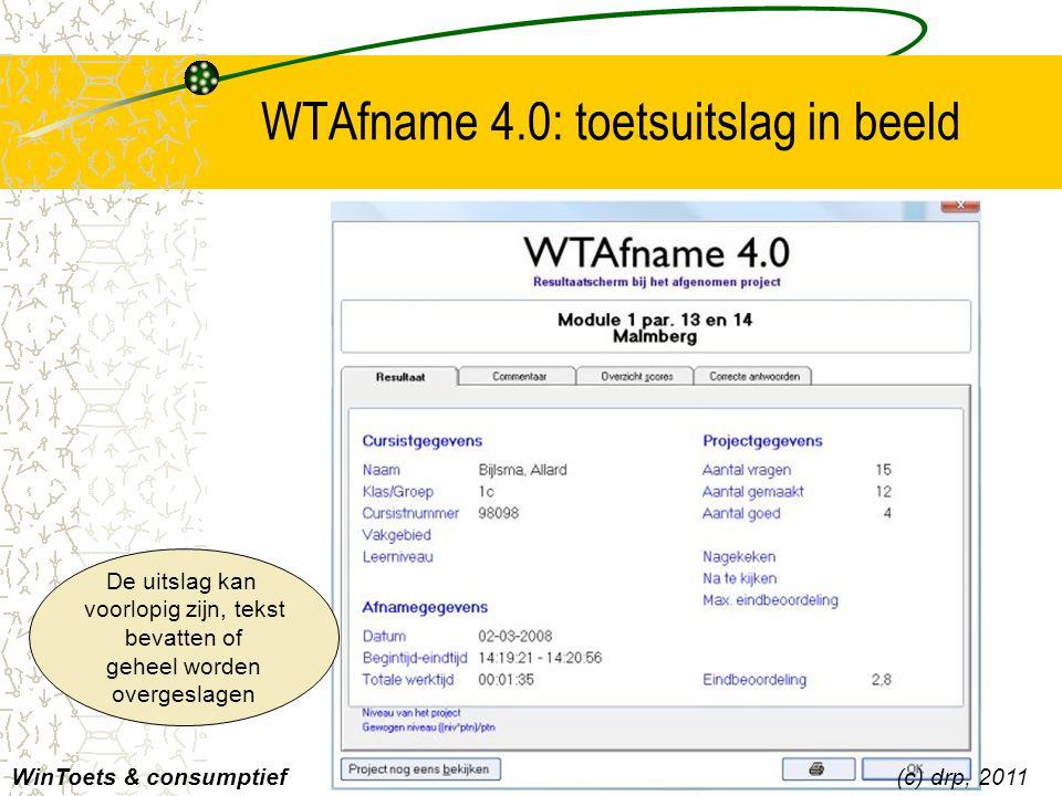 WTAnalyse 4.0: overzicht resultaten in netwerk Lijsten zijn af te drukken en naar Excel te sturen WinToets & consumptief Datum en tijd Cijfergegevens Beveiligd