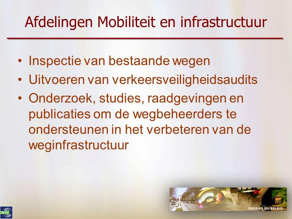 BIVV: Activiteiten WEG & OMGEVING •Inhoud: –Aanbevelingen & richtlijnen inzake herinrichting (vnl bebouwde kom) –Advies aan wegbeheerders (Gewesten – provincies – gemeenten) voor concrete projecten •Afdeling BIVV: –Mobiliteit en infrastructuur