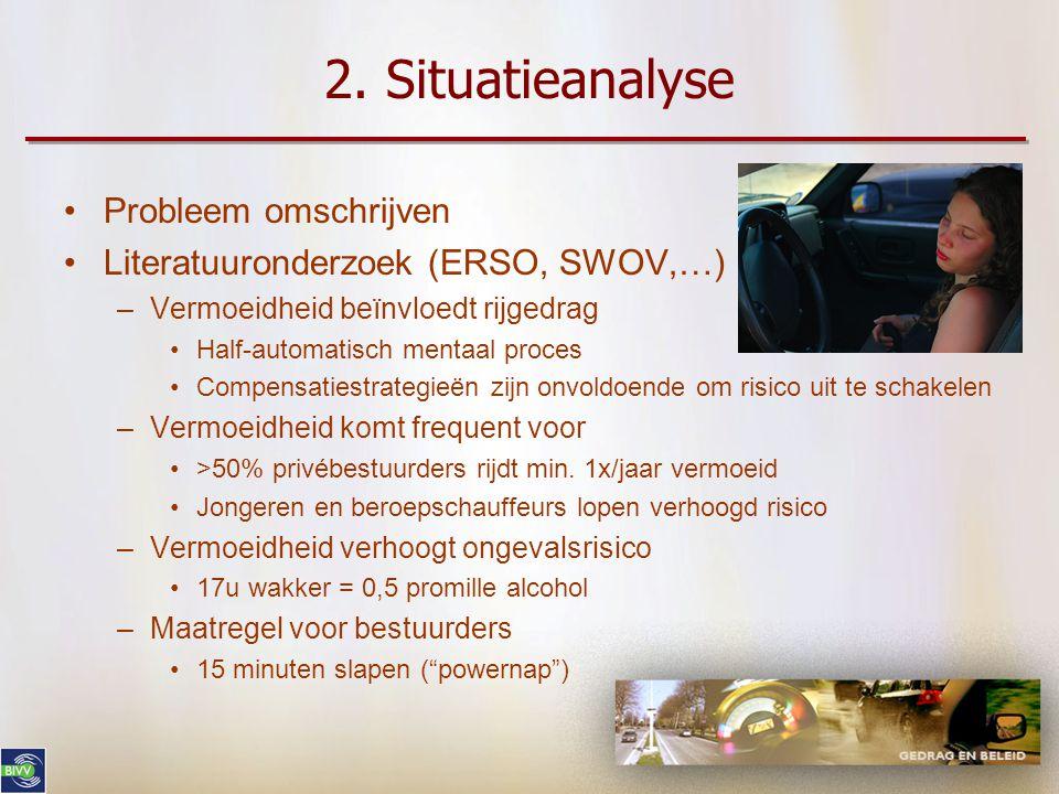 1. Aan de slag Meer informatie nodig  enquête •Face-to-face, 615 autobestuurders, België •Risicoperceptie: vermoeidheid = 4 e belangrijkste ongevalsf