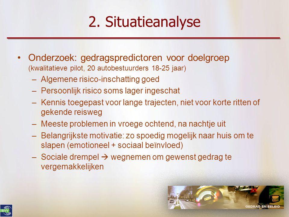 2. Situatieanalyse •Specifieke doelgroep afbakenen –Autobestuurders, 18-25 jaar, hoofdzakelijk mannen •Verhoogd risico omwille van leefstijl (ERSO) •G