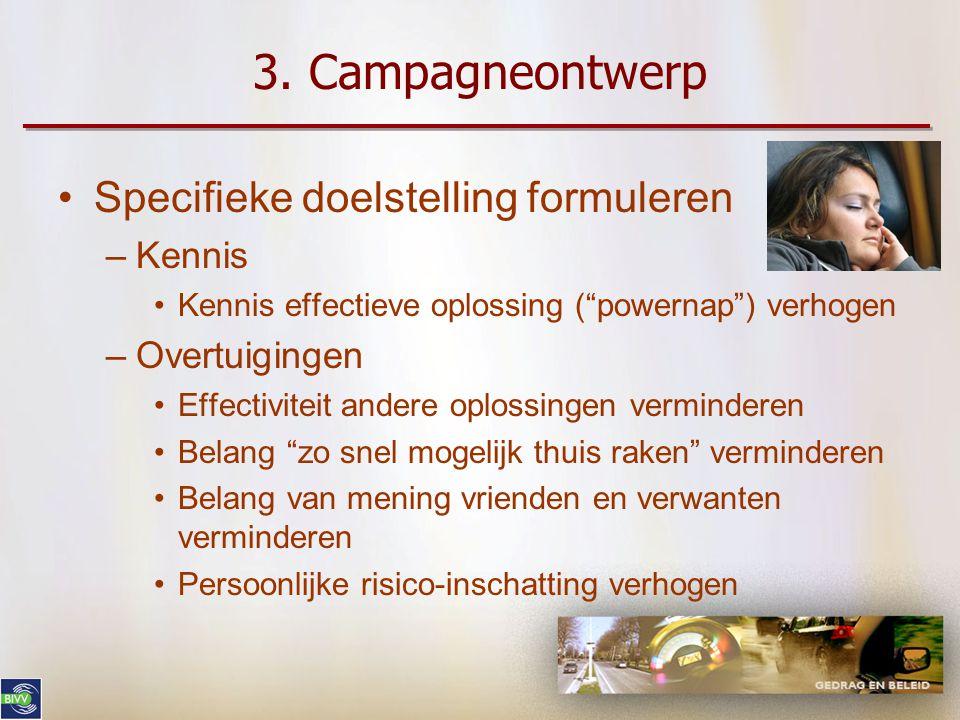 3. Campagneontwerp •Strategieën –Inschatting van dreiging beïnvloeden •Overtuigingen ivm persoonlijke kwetsbaarheid beïnvloeden –Haalbaarheid oplossin