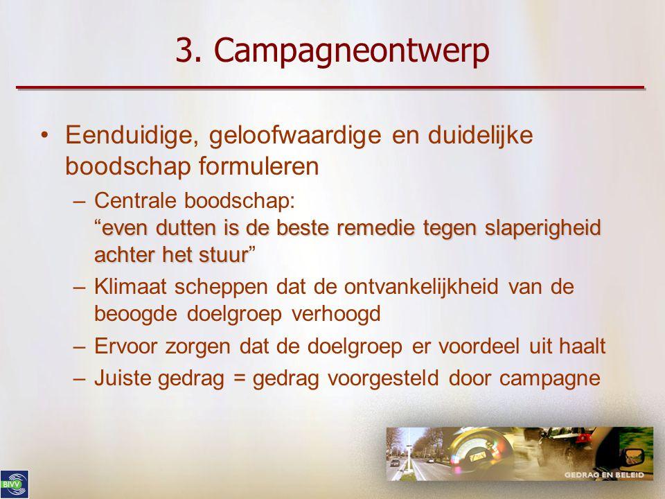 """3. Campagneontwerp •Specifieke doelstelling formuleren –Gedragsintenties •Intenties """"powernap"""" verhogen •Intenties andere remedies verminderen –Zelfge"""