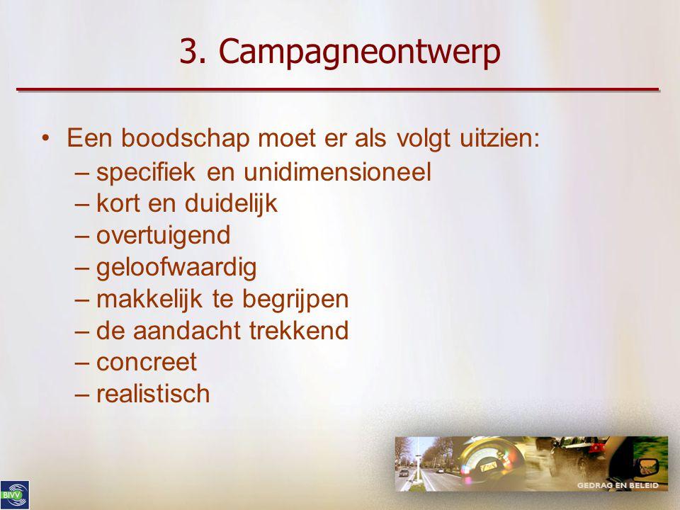 3. Campagneontwerp •Eenduidige, geloofwaardige en duidelijke boodschap formuleren even dutten is de beste remedie tegen slaperigheid achter het stuur
