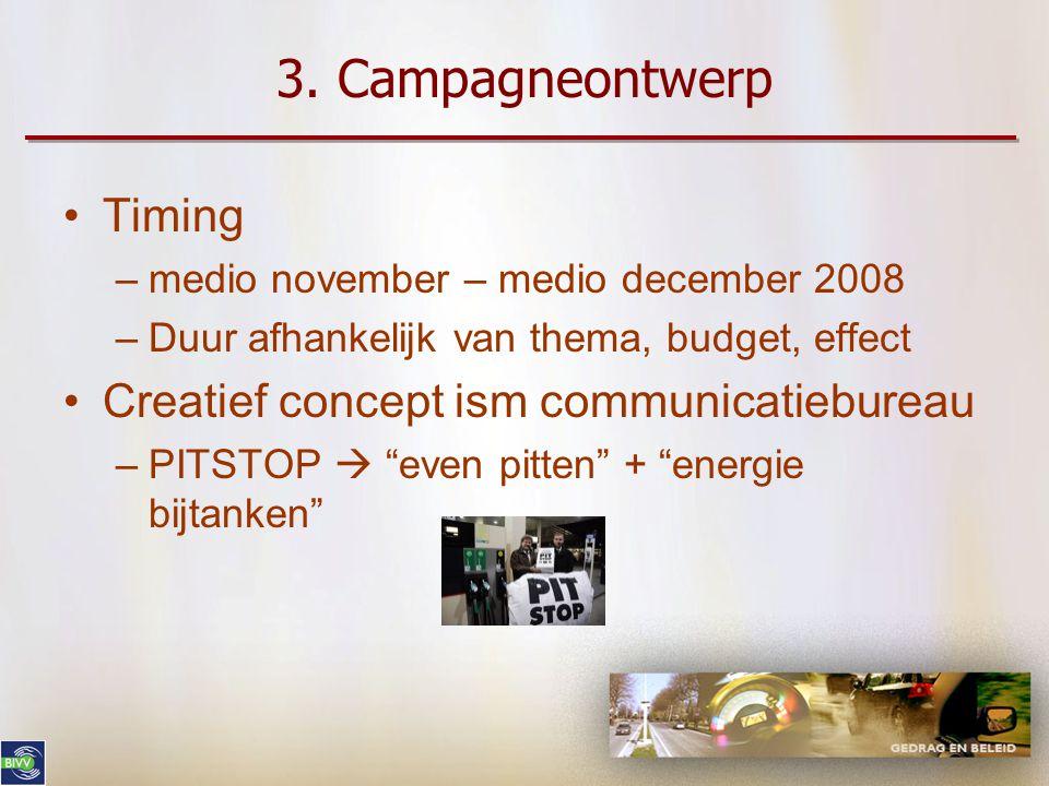 3. Campagneontwerp •Een boodschap moet er als volgt uitzien: –specifiek en unidimensioneel –kort en duidelijk –overtuigend –geloofwaardig –makkelijk t
