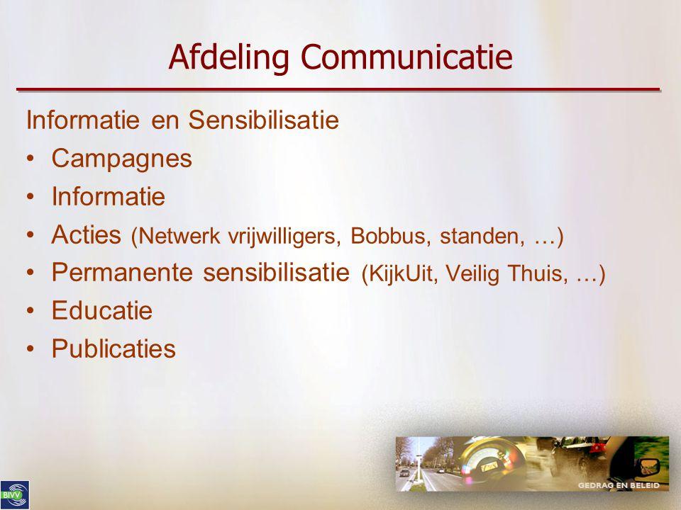 Afdeling Communicatie Informatie en Sensibilisatie •Campagnes •Informatie •Acties (Netwerk vrijwilligers, Bobbus, standen, …) •Permanente sensibilisatie (KijkUit, Veilig Thuis, …) •Educatie •Publicaties
