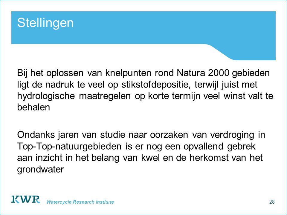 28 Watercycle Research Institute Stellingen Bij het oplossen van knelpunten rond Natura 2000 gebieden ligt de nadruk te veel op stikstofdepositie, ter