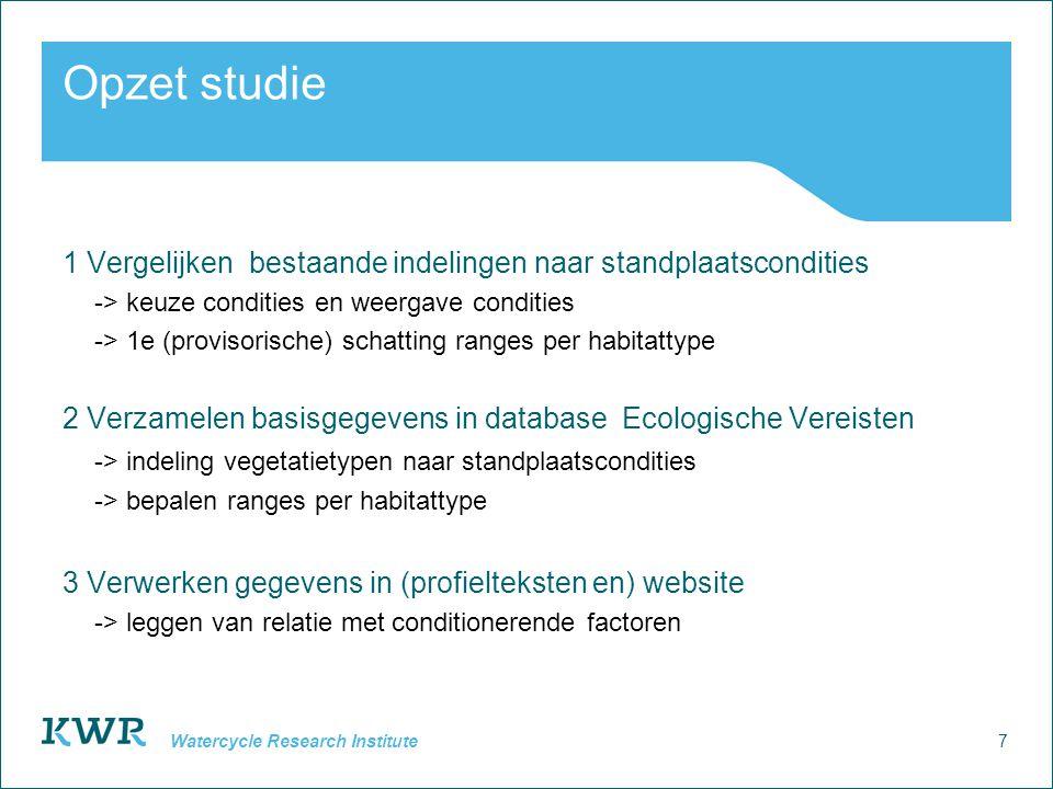 7 Watercycle Research Institute Opzet studie 1 Vergelijken bestaande indelingen naar standplaatscondities -> keuze condities en weergave condities ->