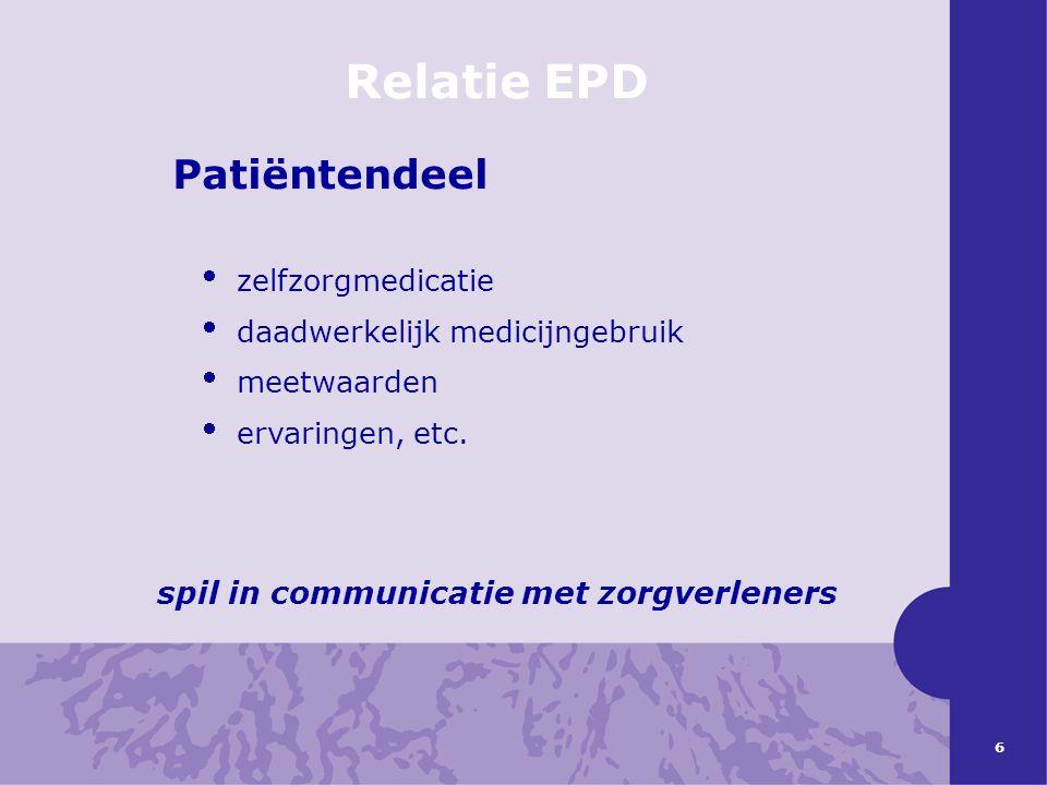 6 Relatie EPD Patiëntendeel  zelfzorgmedicatie  daadwerkelijk medicijngebruik  meetwaarden  ervaringen, etc. spil in communicatie met zorgverlener