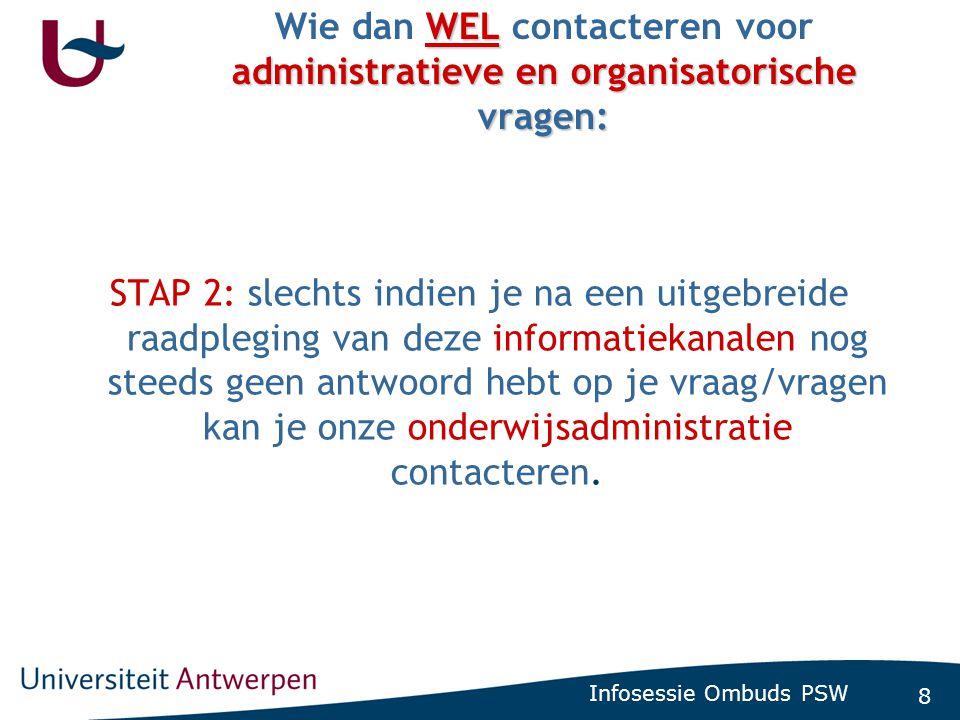8 Infosessie Ombuds PSW WEL administratieve en organisatorische vragen: Wie dan WEL contacteren voor administratieve en organisatorische vragen: STAP