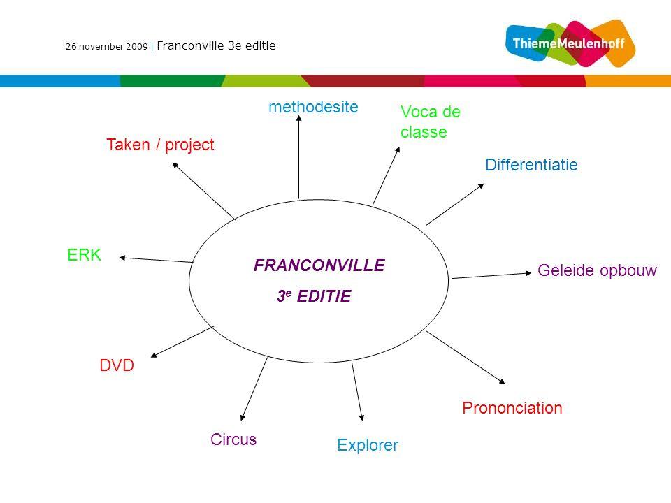 26 november 2009 | Franconville 3e editie FRANCONVILLE 3 e EDITIE Taken / project methodesite Voca de classe Differentiatie ERK DVD Circus Explorer Prononciation Geleide opbouw