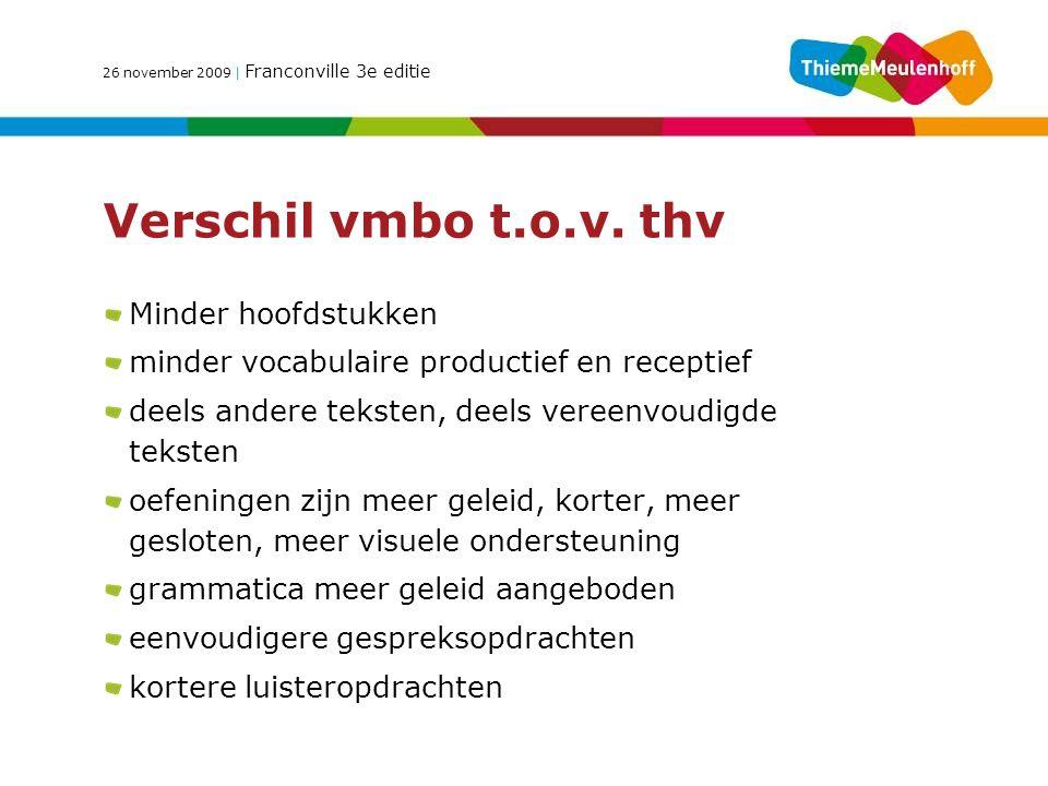 26 november 2009 | Franconville 3e editie Verschil vmbo t.o.v.